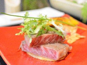 地元の旬の味覚を使った会席料理に黒毛和牛ステーキ付き♪